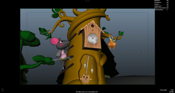 Picture of Nibbles running up the tree clock