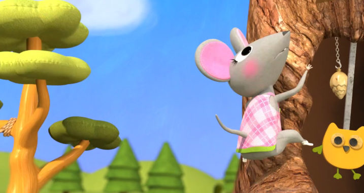 Picture of of Nibbles sliding down the tree in Hickory Dickory Doc