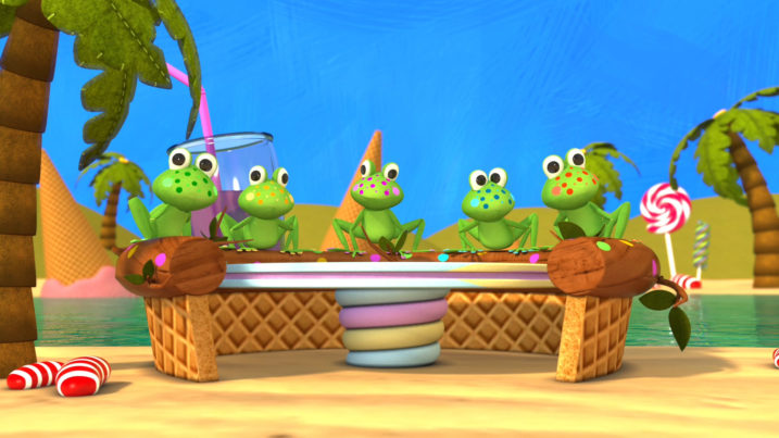 Picture of The Five Little Speckled Frogs sitting on their speckled log