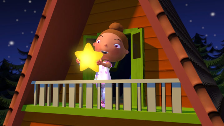 Picture of Ana releasing Seleb from her bedroom balcony for Twinkle Twinkle Little Star