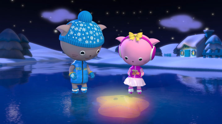 Picture of BoBo and Ivy watching Seleb's reflection in the frozen lake for Twinkle Twinkle Little Star video