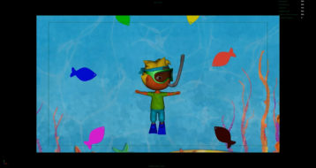Picture of Otto swimming with the fishes in 12345 once I caught a fish alive
