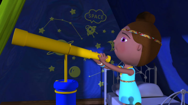 Picture of Ana watching Baby with her telescope